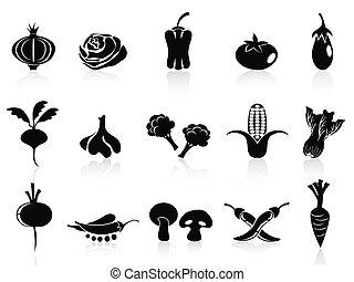 黒, 野菜, アイコン, セット