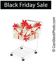 黒, 金曜日, 買い物カート, ラベル