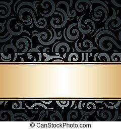 黒, 金, 壁紙, 型, &