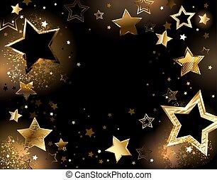 黒, 金, 背景, 星