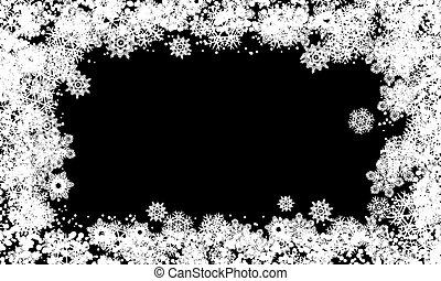 黒, 雪, バックグラウンド。, フレーム, 白