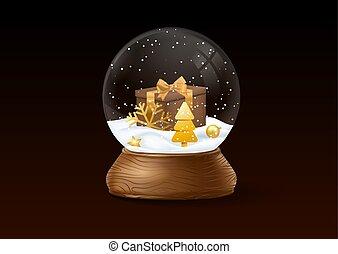 黒, 雪, バックグラウンド。, 地球, クリスマス