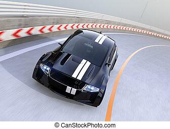 黒, 電気である, スポーツカー, 運転, 上に, ∥, ハイウェー