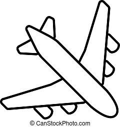 黒, 飛行機, アウトライン