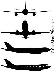 黒, 飛行機, シルエット