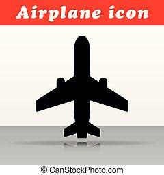 黒, 飛行機, ベクトル, デザイン, アイコン