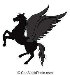 黒, 飛行, pegasus
