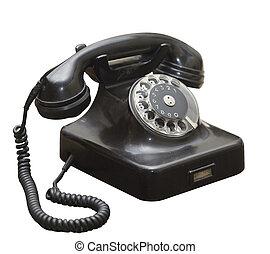 黒, 骨董品, グランジ, 古い, 電話