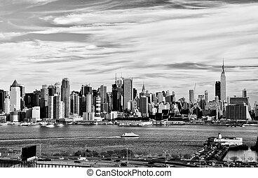 黒, 高く, 都市, ヨーク, 対照, 新しい, 白