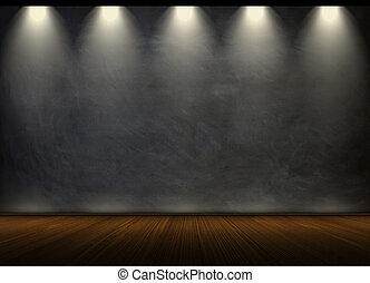 黒, 黒板, 中に, 空 部屋