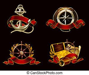 黒, 10eps, セット, 紋章, 海洋