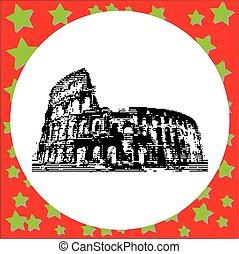 黒, 8-bit, colosseum, 中に, ローマ, イタリア, ベクトル, イラスト, 隔離された, 白, 背景