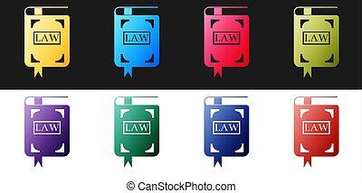黒, book., 法的, バックグラウンド。, ベクトル, 白, アイコン, 判断, concept., セット, 法律, 隔離された, 裁判官, 本