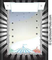 黒, circus., レトロ, ポスター