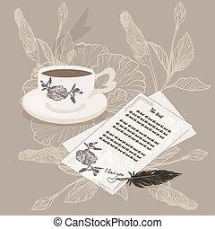 黒, coffee., 手紙, カップ