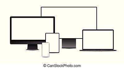 黒, display., ラップトップ, タブレット, devices:, 電子, セット, 現実的, smartphone