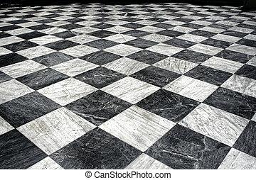 黒, et, 白い大理石, 床