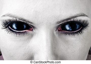 黒, eyes., 悪, 女性, ゾンビ
