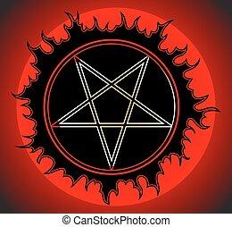 黒, icon., pentagram