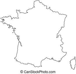 黒, map., ベクトル, フランス, アウトライン, イラスト