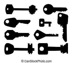 黒, set., シルエット, keys.