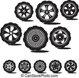 黒, silhouette:, 自動車, 車輪