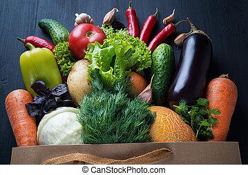 黒, table.., 袋, 新たに, 木製である, 野菜