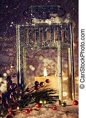 點燃, 明亮地, 燈籠, 蠟燭