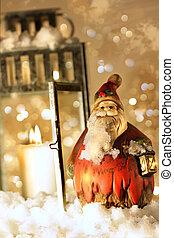 點燃, 明亮地, 雪, 燈籠