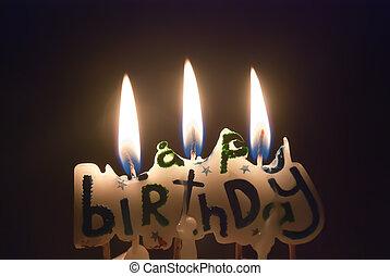 點燃, 蜡燭, 生日, 愉快