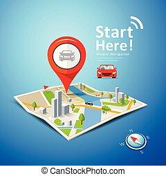 點, 顏色, 汽車, 摺疊, 標誌, 地圖, 矢量, 航行, 紅色
