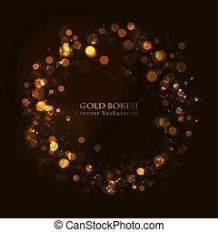 點, 黑暗, 金, 閃閃發光, 背景。, 魔術, bokeh, 矢量, effect.