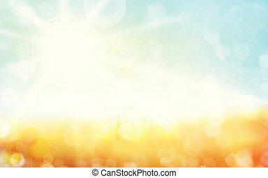 點, 1701002, 藍色的天空, 太陽, 模糊背景, bokeh, 綠燈, 春天