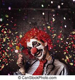 黨, 生日, 蠕動, 小丑, 慶祝
