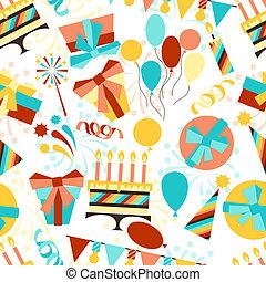 黨, 生日, pattern., seamless, 愉快