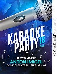 黨, 音樂會, 海報, 邀請, template., 飛行物, 音樂, 夜晚, 設計, 聲音, karaoke, design.