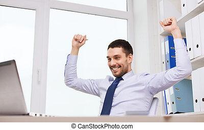 鼓舞, 笔记本电脑, 开心, 办公室, 商人