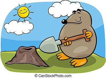 鼴鼠, 由于, 鏟, 卡通, 插圖