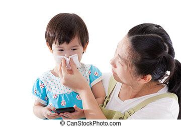 鼻, 母, 届く, 吹く, bac, 娘, 彼女, アジア人, 白