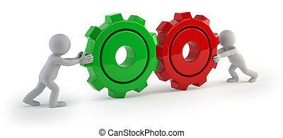 齒輪, 人們, -, 連接, 小, 3d