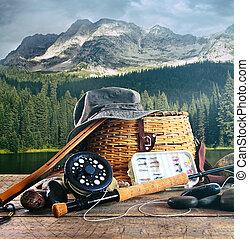 齒輪, 飛, 湖, 木 艙板, 釣魚