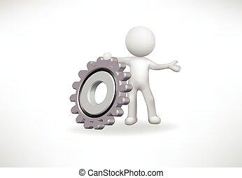 齿轮, 人们, 矢量, 小, 标识语, 3d