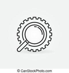 齿轮, 放大器, 矢量, 概念, 内部, 图标, outline