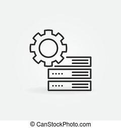 齿轮, 矢量, 概念, 稀薄的线, 图标, 服务器