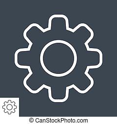 齿轮, 矢量, icon., 稀薄的线