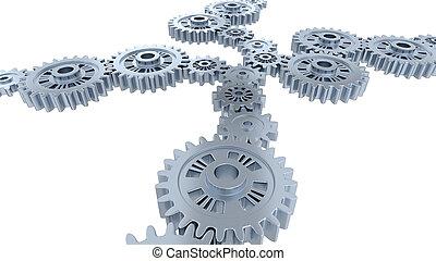 齿轮, 许多, 银, 观点, 边观点