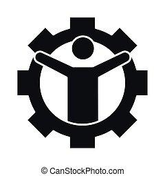 齿轮, 风格, 商人, 工作, 商业, 成功, 侧面影象, 发展, 图标, 管理