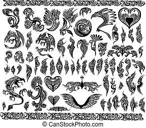 龍, 邊框, 框架, 紋身, 集合