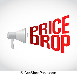 가격, 내리다, 메가폰, 메시지, 에, loud., 개념