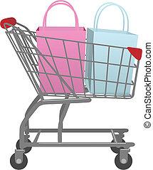가다, 상점, 와, 손수레, 크게, 은 쇼핑을 소매한다, 은 자루에 넣는다